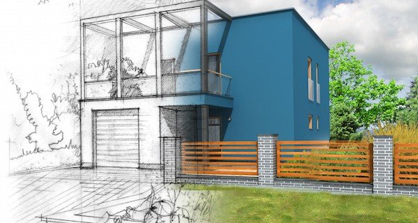 architectural illustration of modern house construction