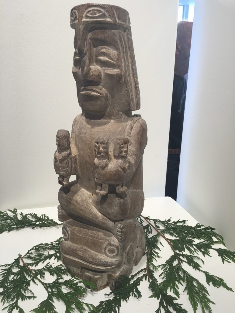 Squamish Nation Art Carving - The Lady Who Steals Children at Gibsons Public Art Gallery