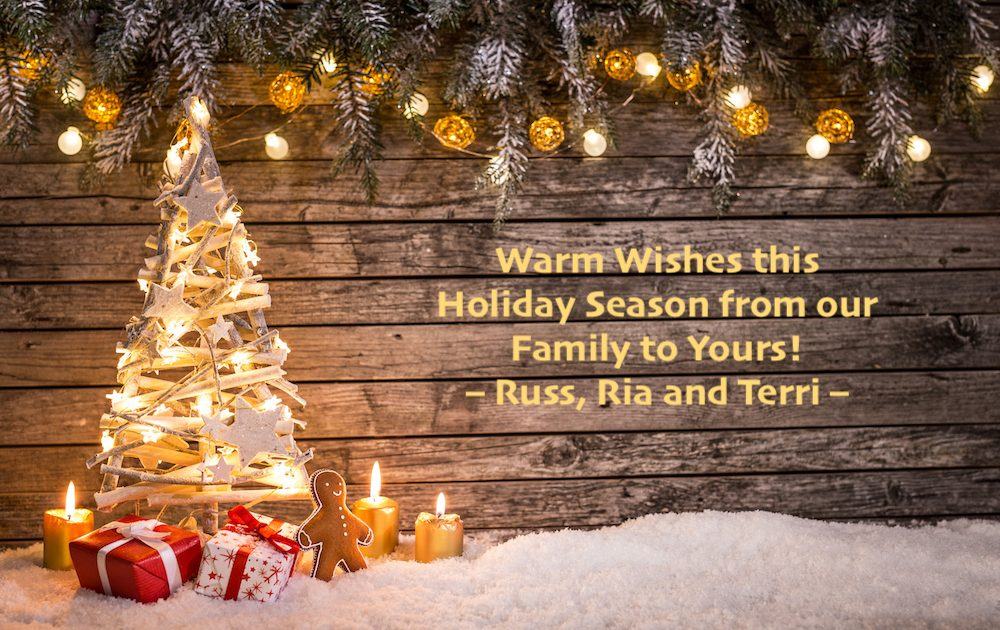 happy holidays christmas card 2017 from Russ, Ria and Terri