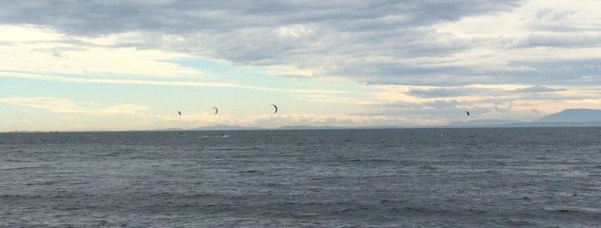 kite surfing on the ocean in sechelt sunshine coast bc