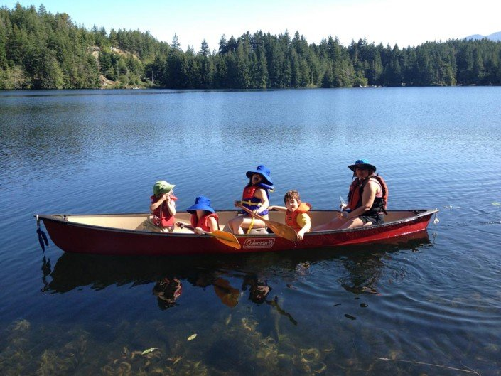 Canoeing at Hotel Lake Sunshine Coast BC