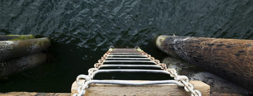 ladder into water